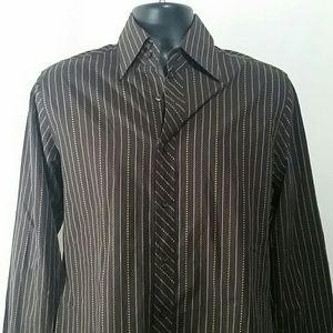 BEN SHERMAN Brown Striped Shirt Size M